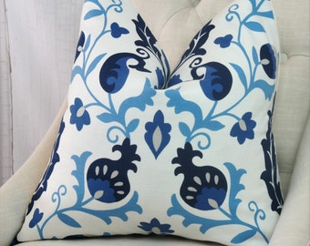 Upholstery, Ikat, Blue Fabric by the Yard, Home Decor, Drapery Curtains, Designer, Remnant Fabric, Pillow Fabric, Sewing