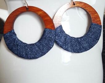 Denimwear: Medium Wood Hoops & denim fabric w/Sterling Silver filled  Earwires/ Denim earrings/ Hoop earrings/ Wood earrings