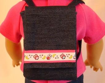 Owl Backpack for American Girl Doll and 18-inch Dolls - Owl, Moon & Stars Denim Backpack