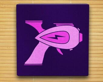"Atomic Pink Raygun - Hand Stenciled Canvas - 12"" x 12"" - Retro Sci Fi Ray Gun"