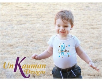 Personalized Initial, Name, and Polka Dots Baby Shower Gift Snap Tee for boys
