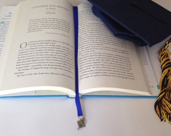 Graduation Cap bookmark with clip - Attach to book cover then mark the page with the ribbon. Never lose your bookmark!