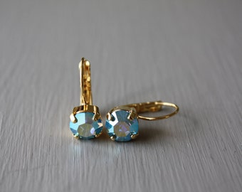 Aqua Blue Swarovski Earrings
