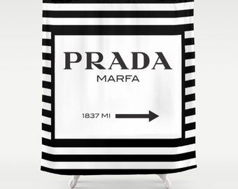 Shower Curtain, Prada Marfa, Prada Marfa Shower Curtain, Fashion Decor, Gossip Girl Decor, Prada Marfa Decor, Black and White Shower Curtain