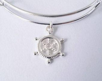 Ship's wheel charm bangle bracelet