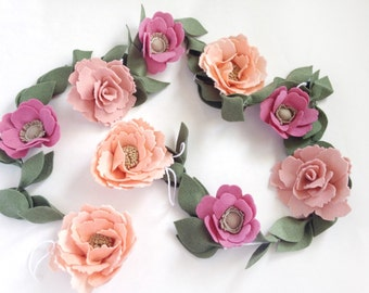 Birthday Garland - Baby Shower Garland - Nursery Garland - Felt Garland - Felt Flower Garland - Floral Garland - Felt Flowers - Office Decor