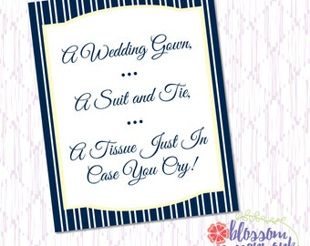 Navy & Yellow Cape Cod Inspired - Printable Tissue Sign