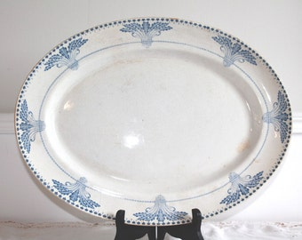 LARGE, Antique Ironstone, Serving Platter, Blue Transferware Plate, Serving Dish, Vintage Pottery, French Ironstone, Oval Platter, French