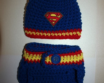newborn Superman hat and diaper cover, baby Superman hat and diaper cover, baby boy Superman hat and diaper cover Halloween costume