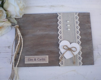 Peronalized Wooden guestbook or photo album - Rustic Wedding guest book - Wood,linen and lace  - Best bridal shower gift-shabby chic wedding