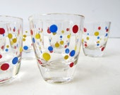 Mid Century Barware -Set of 6 Multi Colored Dotted Shot Glasses - Vintage Glassware- Blue Red Yellow Dots - Whiskey Shot - Cordial Glass