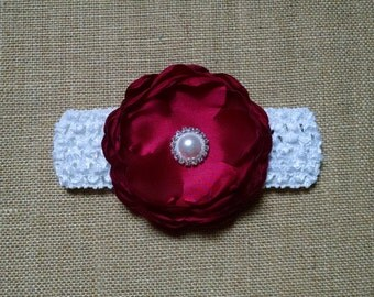 Baby Girl Headband, Pearl Headband, Flower Headband, Burgundy Headband, Baby Hair Accessory, Newborn Headband, White Headband