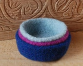 3 Felted wool bowls, blue, fuchsia, seafoam green,  stackable, home decor, Nature table, Waldorf inspired, Mother's Day