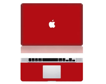 "Macbook Red Front & Wrist Sticker Vinyl Decal Cover For Macbook Pro 13"" Comes with free keyboard cover and gift"