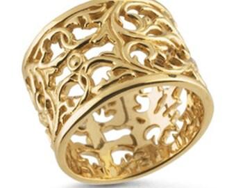 14K Yellow Gold Filigree Band Ring