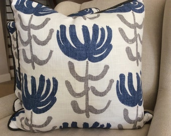 William Yeoward for Designer's Guild Pillow Cover in Pierrette Flowers of Blue and Gray on White Linen, Blue Cording and Linen Backing