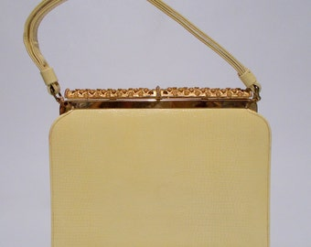 After Five Yellow Handbag With Coin Purse Croc Embossed Pearly Clasp Vintage