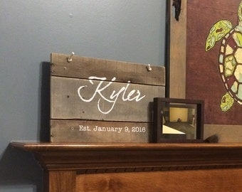 Anniversary Date Sign - Wood Sign Anniversary Gift with Last Name and Est. Wedding Date