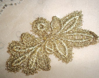 5 Gold Metallic Leaves to Applique