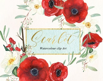 Anemones scarlet red  and winter rose. Watercolour clipart.  Original wreath and arrangements. Red and white flowers. wedding invitation.