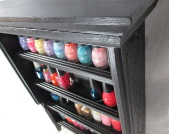 Engraved Nail Polish Rack, Up to 40 Bottles, ~ Painted (Monochrome)