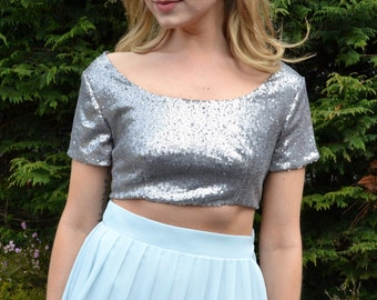 Custom made 'Lexie' sequin crop top with short sleeves and scoop neck style formal or casual separate mix and match for wedding/bridal party