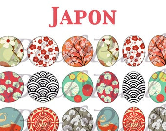 Japan - Page digital images for cabochons - 60 digital images / digital print