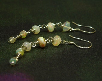 Ethiopian Opal Earrings/ Sterling Opal Dangle Earrings/ October Birthstone
