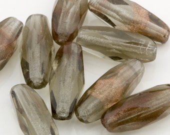 Czech Glass Beads Transparent Gray w/ Aventurine Fire Polished Long Faceted Glass Beads 15x7mm 10pcs 10210009