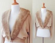Last Minute Invite Sweater   vintage 1950s cashmere cardigan with mink fur collar