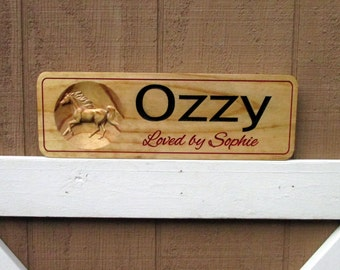 Personalized Horse Stall Sign Wood 3D Custom Barn Door Name Plate Horse Stall Plate Sign Tack Room Barn Name Sign Stall Door Plate Stable