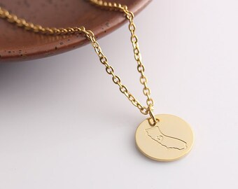 Gold Disc Necklace, California Necklace, Personalized State Map Necklace Jewelry, Can be made with any State or Country