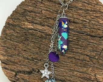 Multi-Colored Prism Pendant with Tassel Charms