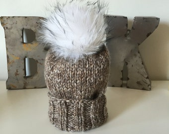Harvest Marbled Wooly Hat w. Fur POM POM