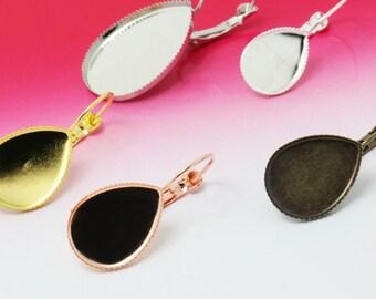20pcs 13x18mm/ 10x14mm/ 18x25mm Water drop ear hook base, ear clip ,ear wire Jewelry findings  xj