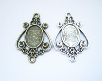 20pcs  Antique silver/ bronze 10x14mm base,  bezel cup setting pendant trays Wholesale xd1511