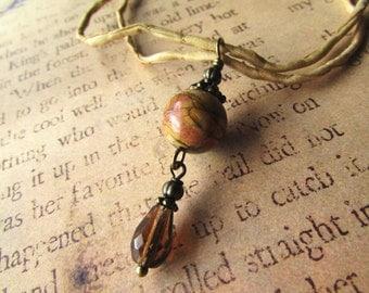 Jasper and silk necklace