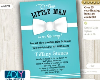 Light Teal White Bow Tie Little Man Baby Shower Invitation for Tiffany,blue, light turquoise, egg shell- aa86bTB