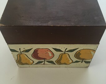 Vintage Recipe Box Woodcrest by Styson made in Japan Fruit Design