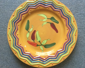 """9.5"""" SERRANO by Studio D Plate Mexican Style Handpainted Earthenware Peppers"""