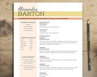 the barton resume resume design cv template customizable resume template for word and - Modern Resume Template Word