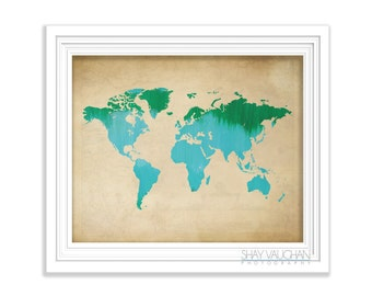 World Map Art Print Map Of The World Painting Poster Blue Green Watercolor World Map Illustration Home Decor Wall Art Wall Decor (No.454)