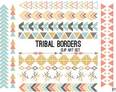 Tribal Pattern Borders Aztec in Pastel Aztec Clipart Commercial Use Graphics Digital Clip Art Digital Images Royalty Free PNG