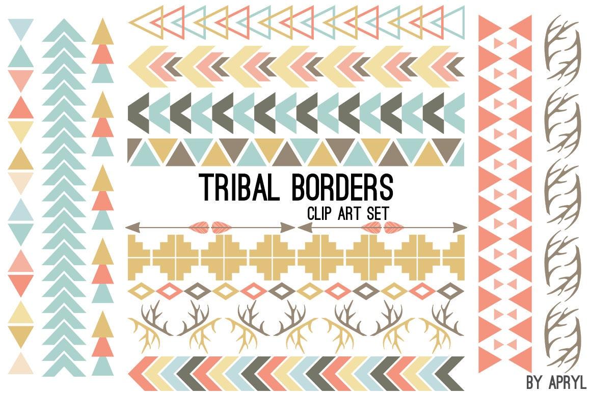 Tribal Pattern Borders Aztec in Pastel Aztec Clipart