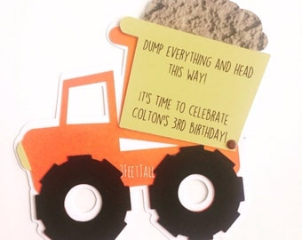Construction Party Invitation, Dump Truck Birthday Invitation