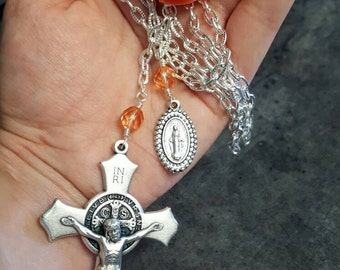 Extra Large Crucifix Necklace with Miraculous Medal