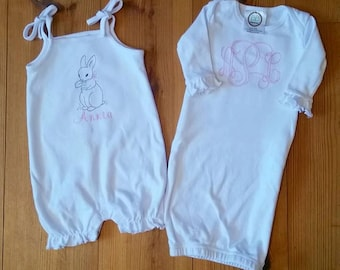 Vintage Bean-Stitch Monogram Onesie or Gown