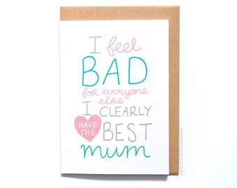 Mothers day card funny best mum card, grandmother, birthday, mother, mom mum grandma great mum birthday card for mum