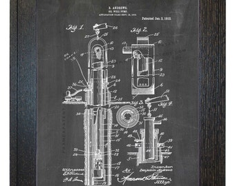 Framed Patent Print - Oil-well Pump WITH Real Rustic Wood Frame - Framed Patent Art