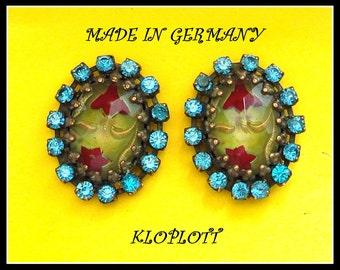 S A L E!!! UNIQUE KONPLOTT EARRINGS Made in Germany Fancy Ovals and Rhinestones